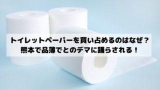 トイレットペーパーを買い占めるのはなぜ?熊本では品薄でなくなるとデマに踊らされる!