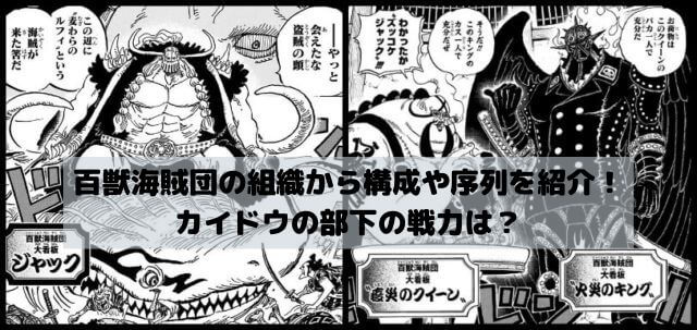 ワンピース百獣海賊団の組織から構成や序列を紹介!カイドウの部下の戦力は?