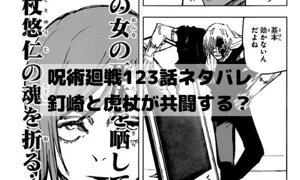 【呪術廻戦ネタバレ123話最新話確定速報】釘崎と虎杖が共闘する?