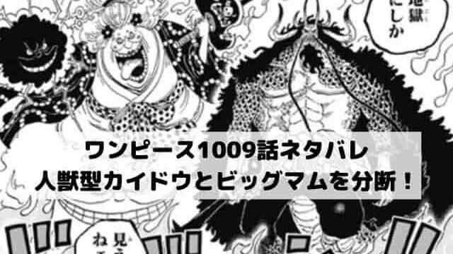 【ワンピースネタバレ最新話1009話速報】人獣型カイドウとビッグマムを分断!