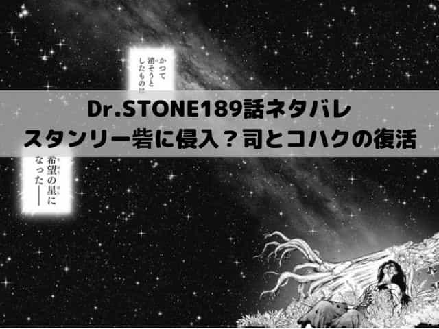 【ドクターストーンネタバレ最新話189話確定速報】スタンリー砦に侵入?司とコハクの復活